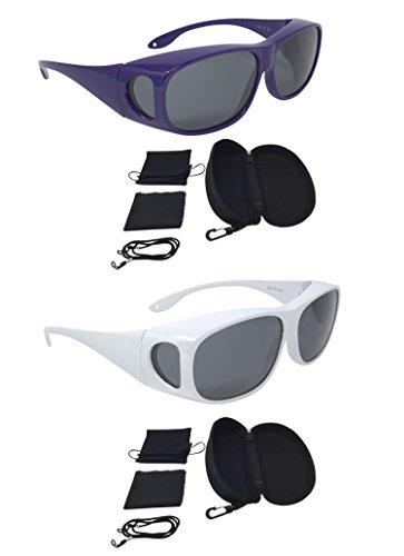 teleshophandelsagentur Überzieh Sonnenbrille Überbrille Sonnenüberbrille SUPER-SPAR-EDITION 2 Stück lila weiß polarisiert UV 400 unisex inkl. Hardcase und Zubehör