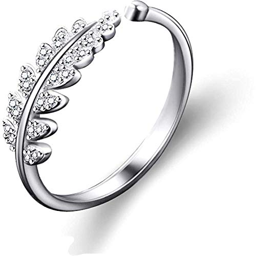 /Yellow Chimes Designer Beauty-in-Leaves A5 Grade Crystal Adjustable Silver Plated Ring for Women & Girls