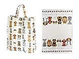SPOTTED DOG GIFT COMPANY 2er Geschenkeset, Geschirrtücher und Reisenthel Shopper Bag Einkaufstasche faltbar, Hunde Design, Geschenk für Frauen Hundeliebhaber
