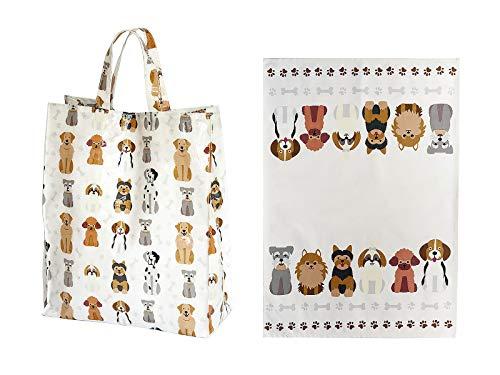 SPOTTED DOG GIFT COMPANY Juego de 2, a Juego Paño de Cocina y Bolsa de la Compra Reutilizable, Diseño de Perros, Regalo para los Amantes de los Perro