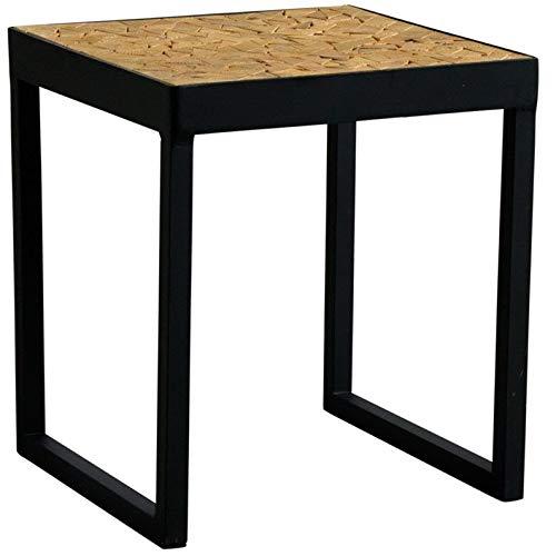 AUBRY GASPARD Table carrée en métal Plateau mosaïque en Bois