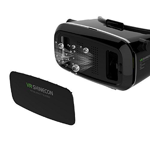 3D Virtual Reality Headset, Senhai Objektabstand verstellbar VR Brille passt für Größe zwischen 4,7 bis 5,7 Zoll Smartphone IOS Devices & Andriod Apple iPhone Samsung HTC Fahrwerk SONY etc - Schwarz