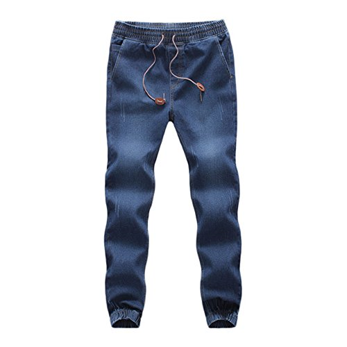 UJUNAOR Herren Sweathose in Jeansoptik Jogg-Jeans Männer Freizeit-Hose Jeans Jogginghosen Slim Fit Jogger Vintage Sweathose Hose(Dunkelblau,EU 48/CN 2XL)