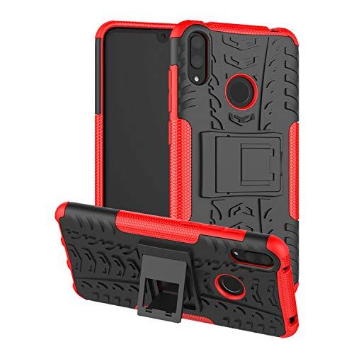betterfon | Huawei Y7 2019 Outdoor Handy Tasche Hybrid Case Schutz Hülle Panzer TPU Silikon Hard Cover Bumper für Huawei Y7 2019 Rot
