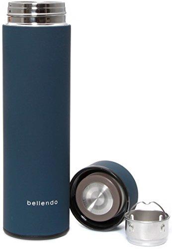 bellendo Isolierflasche für unterwegs klein 0,5 l | Kleine Design Edelstahl Isolierkanne 500ml | Tee To Go Flasche Thermo mit Teesieb, Blau