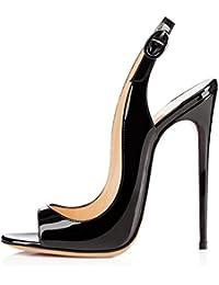 elashe Scarpe da Donna - Peep Toe Slingback Sandali - Tacco a Spillo Con Cinturino Caviglia Fibbia