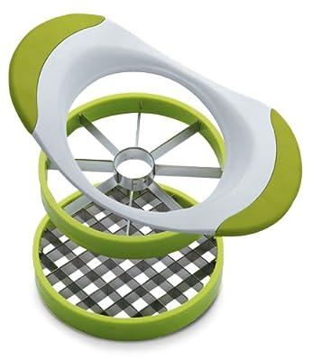 Yoko Design Coupe-Pommes/Pommes de Terre Support en ABS et Poignées en PVC Blanc/Vert Clair