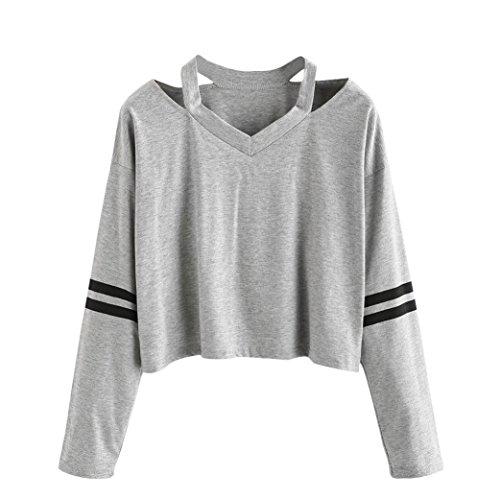 sweat shirt fille courte pull femme hiver chic FRYS mode manteau femme grande taille vetement femme pas cher fashion sport chemisier Ados Fille blouse femme manche longue (Small, Gris)