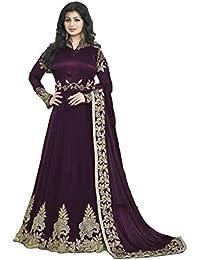 BHUMIK ENTERPRISE Designer Beautiful Violet Embroidered Work Long Anarkali Suit Semi-Stitched Suit ( Bottom Unstitched)
