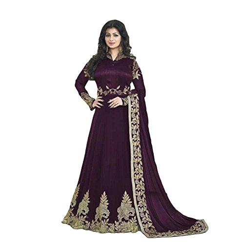Aryan Fashion Women's Georgette Anarkali Salwar Suit Set (Tghvd10209_Violet)