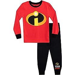 Disney Pijamas de Manga Larga para niños The Incredibles Ajuste Ceñido Rojo 5-6 Años