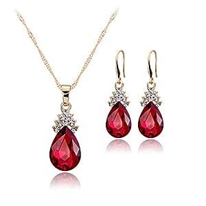 scrox Charming Und Mode Halskette Ohrringe Diamant Wassertropfen Kristall elegant Damen-Schmuckset Set Kristall Anhänger Halskette + Ohrringe