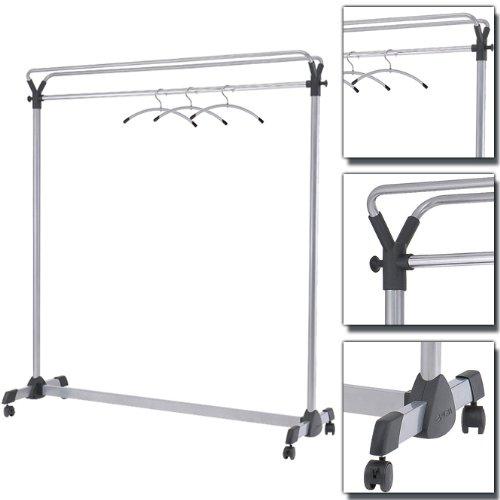 Preisvergleich Produktbild Rollbare Garderobe, Silber Schwarz, Breit: 1.5 Meter, Garderobenständer, Reihengarderobe, Schwarz