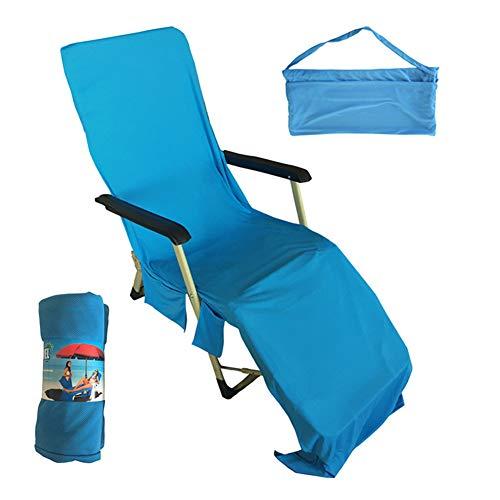 HONGBI Sonnenliege Handtuch, Schonbezug für Gartenliege Strand Liege Liegestuhlauflage, Strandtuch Liegestuhl Bezug mit Seitentasche Blau 75X210CM