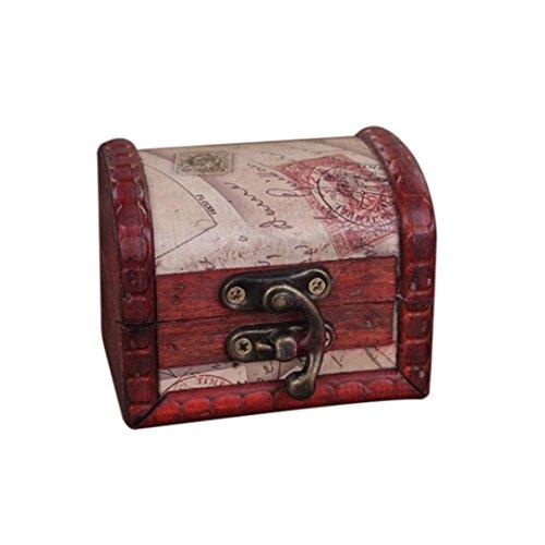 Boîte de rangement Coffre au Trésor,Sensail Structure Résistante en Bois et en Métal - Design Vintage Unique, Fabriquée à la main avec un verrou devant