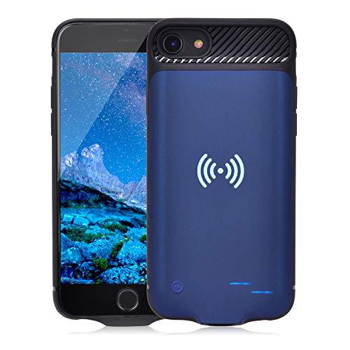 Qi Akku Hülle für iPhone 6 6S 7 8, 3800mAh Tragbare Drahtlos Ladebatterie Zusatzakku Externe Handyhülle Batterie Wiederaufladbare Schutzhülle Power Bank Akku Case für iPhone 8/7/6S/6 [4,7 Zoll] (Blau)