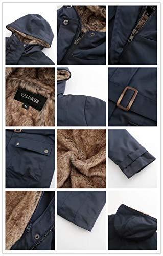Damen Warm Trenchcoat Mit Abnehmbaren Liner Lang Daunen Mantel Kunst Fell Winter Jacke Marine DE:36 / US:XS - 4