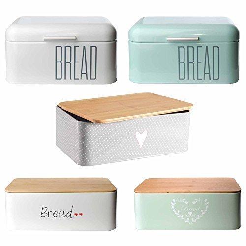 Brotkasten Brotbox Metall Bambus Brotbehälter mit Deckel Bambusdeckel Brot Aufbewahrung Box Kiste (Metall-Weiß)