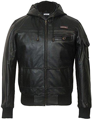 Jacke Leder Aviator Jungen (Leatherbox Jungen Jacke Schwarz Schwarz)