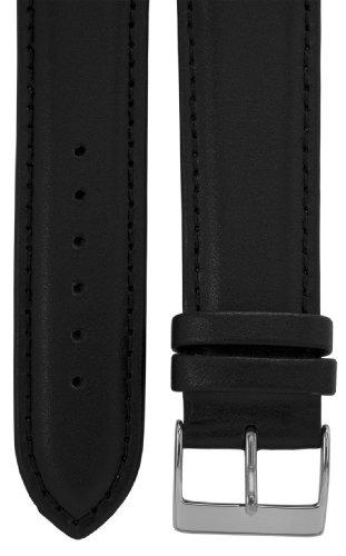 Uhrenarmband 22 mm Leder schwarz, Länge 75x115mm, Edelstahl-Dornschließe