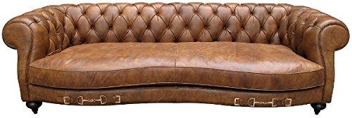 Casa Padrino Echtleder 2,5-Sitzer Sofa Columbia Braun 218 x 105 x H. 73 cm – Luxus Qualität