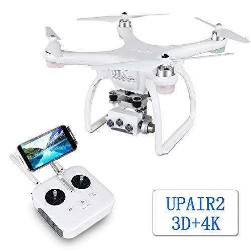UPAIR Zwei 3D-4K-Drohnen-Quadcopter mit Kamera, RC-Drohne mit GPS, optische Flusspositionierung, automatische Rückkehr, Follow-me, automatische Rückkehr, Drone für Erwachsene