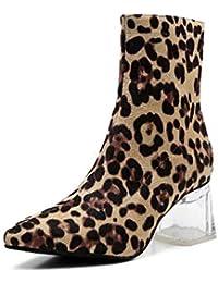 6,5 Cm De Cristal Grueso Talón Botines De Tacón De Moda De La Mujer Dedo del Pie Leopardo Patrón OL Corte Zapatos UE Tamaño 34-40,Leopard,40EU