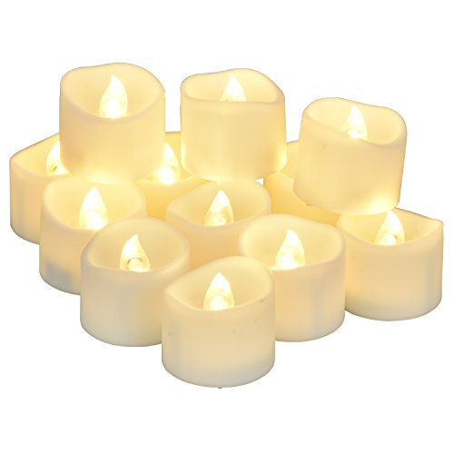 LED candles, eLander LED tea lights flameless candles, 12 pieces, warm white [without timer]