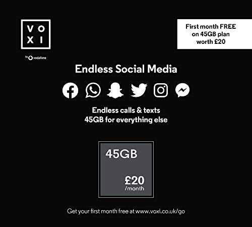 Vodafone VOXI SIM Card with 45 GB, Endless Social Media, Calls, Texts and Roaming