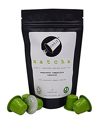 Rokit Organic MATCHA Tea INSTANT DRINK (10 Capsules) - No More Scooping, Whisking or Dust - Matcha Green Tea NESPRESSO Compatible CAPSULES by Rokit Pods