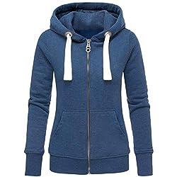 ESAILQ Mode Damen Hoodie Sweatshirt mit Kapuze Mantel Zipper Jacke(XXL,Schwarz)