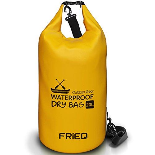 FRiEQ leichte und formstabile Trockentasche Rucksack für Aktivitäten im Freien - Wasserdichte Tasche garantiert - ideal für Bootfahren / Kajakfahren / Angeln / Rafting / Schwimmen / Schwimmende / Camping - Schützt Telefon / Kamera / Kleidung / Dokumente von Wasser, Sand, Staub und Schmutz - 20L(Gelb)