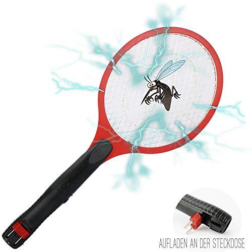 1 Elektrische Fliegenklatsche mit Akku Rot I Extra Stark I Aufladbarer Insektenvernichter Fliegenfänger