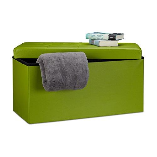 Relaxdays Faltbare Sitzbank 38 x 78 x 38 cm HxBxT, 2-Sitzer m. Stauraum, Kunstleder Sitzhocker 300 kg belastbar, grün