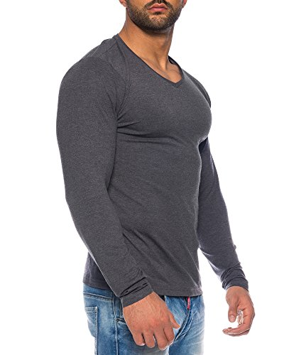 Benk Herren V-Neck Pullover Feinstrick Sweater Longsleeve Langarm Shirt Cardigan (Antra, L) -