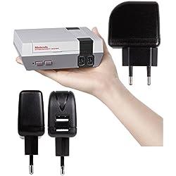 DURAGADGET Cargador Con Enchufe Europeo Para videoconsola Nintendo Mini Classic ( de noviembre 2016) - Con Doble Entrada USB