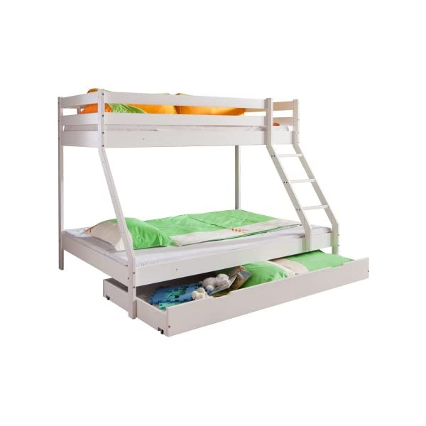 Relita Mike Bunk Bed with Bed Drawer in Solid Beech Wood White Lacquered Relita Width approx in cm: 160 Height approx in cm: 210 Depth approx in cm: 152/240 1