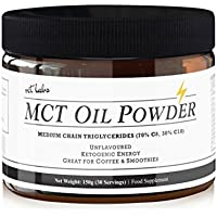 Unflavoured MCT Oil Powder. Exogenous Ketones from Coconut Oil for Ketogenic Energy, perfect as a creamer for Keto Coffee, to aid Ketosis as a Ketones Supplement. 30 Servings.