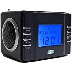 August MB300 - Radio-réveil / Cube lecteur MP3 / Radio FM / Lecteur de Carte SD / USB / AUX-In (prise 3,5 mm) | 6W (2 haut-parleurs Hi-Fi 3W) | Batterie Rechargeable Intégrée - Noir