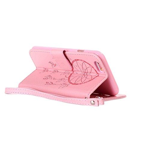 Phone case & Hülle Für iPhone 6 Plus / 6s Plus, Crazy Horse Texture Dream Catcher Printing Horizontale Flip Leder Tasche mit Halter & Card Slots & Wallet & Lanyard ( Color : Pink ) Pink