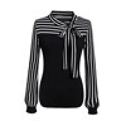 Chemise Femme,Manadlian Tuniques Femme Chemisier Tie-Bow Neck Rayé à Manches Longues Splicing Shirt Noir