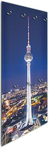 Wallario Wandgarderobe aus Glas in Größe 50 x 125 cm in Premium-Qualität, Motiv: Fernsehturm Berlin Bei Nacht | 7 Kleiderhaken Zum Aufhängen von Jacken