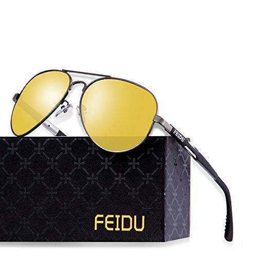 FEIDU Herren und Damen Nachtfahrbrille mit Metallrahmen - Nachtsichtbrille Autofahren Kontrastverstärkte Polarisierte Pilotenbrille Sonnenbrille FD 9001 (Gelb, 2.28)