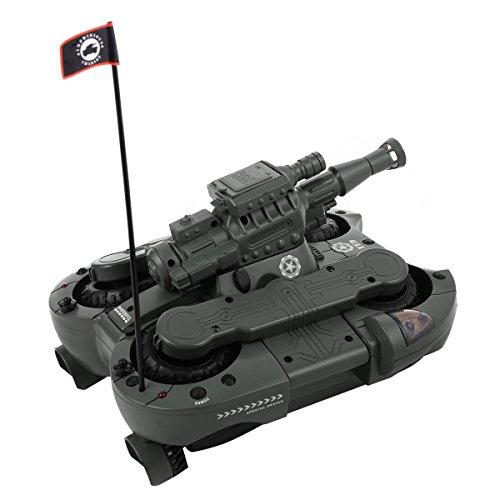 2,4G RC ferngesteuerter Panzer Amphibienauto Amphibienfahrzeug Spielzeug mit Schuss-Funktion(runde Kugel) (grün)