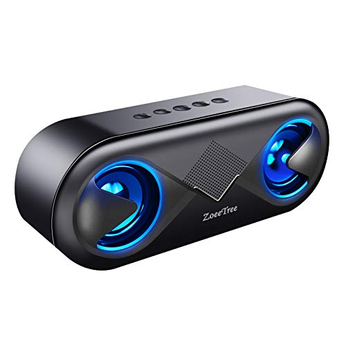 ZoeeTree S8 - Altavoz Bluetooth Portatil, LED Altavoces, 10W HD y Graves Intensos Driver Doble, Bluetooth 5.0, 12 Horas, Llamadas Manos Libres, 3.5mm AUX/Ranura para Tarjetas TF