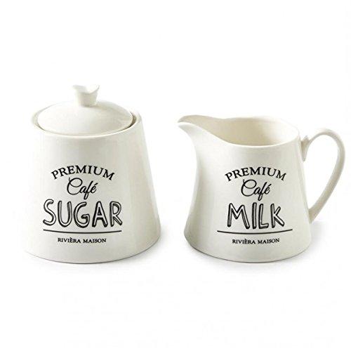 Riviera Maison - Premium Zucker und Milch Set - Milchkännchen - Zuckerdose - Porzellan - 9,5x10cm