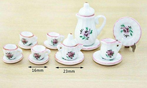 Abenily Fashion Dolls Zubehör Häuser 1:12 Puppenhaus Miniatur Zubehör Mini Chinesisches Tee Set Porzellan