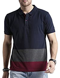 Men's Polo Stripes T-Shirt Navy Blue-Grey & Maroon T-shirt Party Wear (men's Polo Collar Stripes T-shirt For Men's...