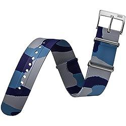 Uhrenarmband ZULUDIVER® Gummi NATO Blau Camouflage 20mm