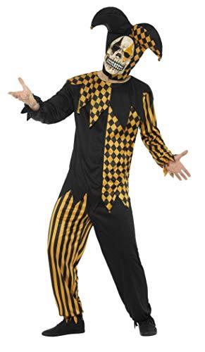 Smiffys Herren Hofnarr Kostüm, Oberteil, Hose, Kopfteil und Latex Maske, Größe: XL, 48074 (Hofnarr Kostüm)